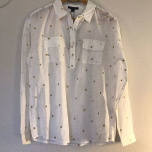 Tommy Hilfiger Blouse White Gold Star Size Small